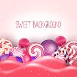 Candy of pink land background Stock Photo