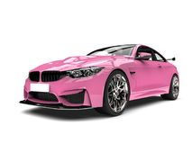 Candy pink modern luxury sports car - front view closeup shot Royalty Free Stock Photography