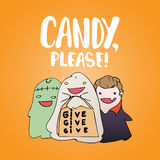 Candy, please - Halloween party hand drawn lettering and sketch card with children dressed in a vampire costume, ghosts Stock Photography