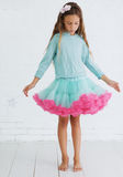 Candy princess. Studio portrait of cute little princess girl wearing holiday candy tutu skirt holding magic wand Stock Image