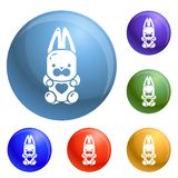 Candy rabbit icons set vector vector illustration