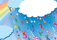 Candy rain card. Illustration of a candy rain card Royalty Free Stock Photography