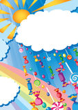 Candy rain and sun card. Illustration of a candy rain and sun card Stock Images