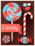 Candy retro poster background design in flat style Stock Photography