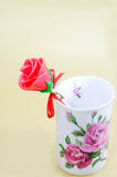 Candy rose in vase Royalty Free Stock Photography