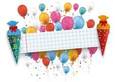 2 Candy School Paper Banner Balloons Stock Photos