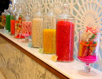 Candy in Glass Jars in Sweets Shop Royalty Free Stock Photos