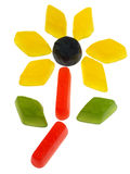 Candy series. Pile of brightly coloured wine gums isolated on white Stock Photos