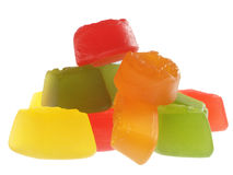 Candy series. Pile of brightly coloured wine gums isolated on white Royalty Free Stock Images