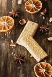 Candy with sesame and caramel royalty free stock photo