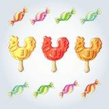 Candy set. Caramel on stick. lollipops Cock. Cockerel candy set. Caramel on stick. lollipops Cock Stock Photography