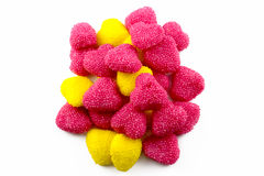 Candy in the shape of heart. Red and yellow royalty free stock photos