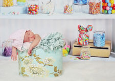 Candy shop baby stock image