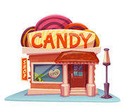 Candy shop building with bright banner. Vector illustration Stock Photos