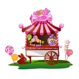 Candy shop with a cheerful decor. Fairytale vector illustration royalty free illustration
