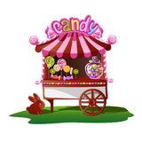 Candy shop with a cheerful decor stock illustration