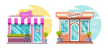 Candy shop and coffee house concept. Flat design city public buildings with storefronts and different interior design royalty free stock photography
