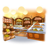 Candy shop. Colorful drawing of candy shop interior with cakes, pies and sweets Stock Photography