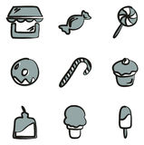 Candy Shop Icons Freehand 2 Color Stock Photo