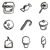 Candy Shop Icons Freehand Royalty Free Stock Photos