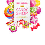Candy shop label with type design and candies Royalty Free Stock Photos