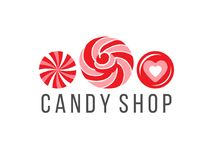 Candy shop logo. With 3 candies and type design isolated on white background. Vector illustration. Easy to use in your own design Royalty Free Stock Photography