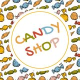Candy shop logo design, sweets store sign in vector EPS8. Candy shop logo design, sweets store sign with multicolor candies in vector EPS8 Royalty Free Stock Photos