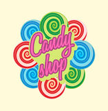 Candy shop logo, sign or symbol template. Sweet icon for cafe. Royalty Free Stock Images
