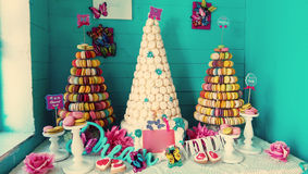 Candy shop. Macarons and cakes shop decoration display Stock Images