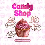 Candy Shop Poster stock illustration