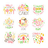 Candy Shop Promo Signs Set Of Colorful Vector Design Templates With Sweets And Pastry Silhouettes Stock Photos