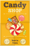 Candy Shop. Retro Poster with Sweets on Yellow Background. Vector Illustration Stock Photography