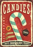 Candy shop retro sign design. On old worn tin texture. Vector illustration Royalty Free Stock Photography