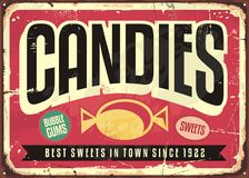 Candy shop retro tin sign Royalty Free Stock Images