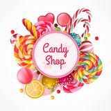 Candy Shop Round Frame Background. With realistic fruit lollipops with sprinkles, spiral colorful sweets vector illustration Royalty Free Stock Photography
