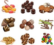 Candy shop set of candies chocolates and cookies Stock Images