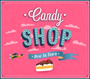 Candy shop typographic design. Royalty Free Stock Photos