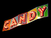 Candy sign in lights. Light bulb candy sign isolated on black Royalty Free Stock Photos