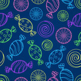 Candy Silholuette Seamless Pattern Stock Image