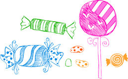 Candy Sketchy Drawings. Candy Sketchy Illustration Drawings on white background stock illustration