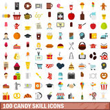 100 candy skill icons set, flat style Royalty Free Stock Images