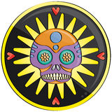 Candy skull. In front of a yellow and black decor with heart Royalty Free Stock Photography