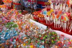 Candy, snack. Ampwa Floating market,Thailand Stock Photos