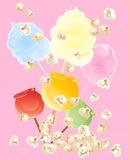 Candy snacks. An illustration of sweet snacks including cotton candy popcorn and candy apples on a pink background Royalty Free Stock Image