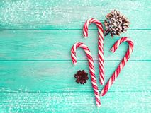 Candy, snow bump on a wooden background, christmas. Candy, snow bump on a wooden background christmas stock photos