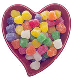 Candy Spice Drops in a Red Heart Shaped Bowl Royalty Free Stock Photography