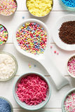 Candy sprinkles. Assortment of candy sprinkles for decorating cupcakes or cookies Royalty Free Stock Photo