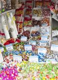 Candy Chisinau market. Candy stall sold by weight, in the central market of chisinau in the republic of moldova royalty free stock photography