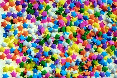 Candy stars. Closeup of colored candy stars Royalty Free Stock Photos