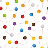 Candy on a stick. Seamless vector pattern. Isolated on white background Royalty Free Stock Photos